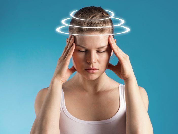 Woman with vertigo or anxiety